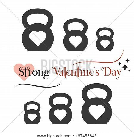 Vector Valentine's day card with icon of stylized kettlebell. Illustration is in flat style.