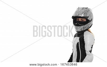 Woman motorcyclist portrait on white background. Girl in motocycle helmet in motorbike suite. Motor life concept. Portrait of extreme femail. Free space for advertising biker goods.