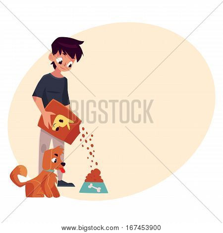 Teenage boy giving food to his puppy, dog, cartoon vector on background with place for text. Full length portrait of black haired boy pouring food from package into bowl for his dog, puppy