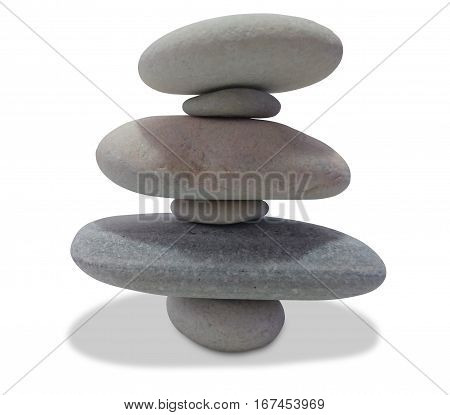 balancing pebbles isolated on white background (pebble tower)