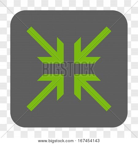 Collide Arrows interface toolbar button. Vector icon style is a flat symbol on a rounded square button light green and gray colors chess transparent background.