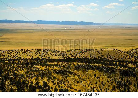 Farm land next to the Very Large Array radio telescope facility in New Mexico