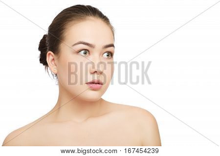 scared girl with natural beauty makeup isolated on white background