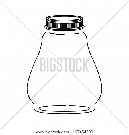silhouette wide glass container with lid vector illustration