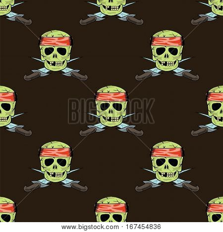 Skull Cross sharp Dagger Seamless Pattern Isolated on Brown