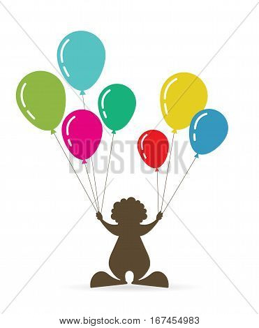 a clown holding colorful baloons. vector illustration