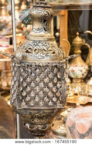 Old retro style lantern made of metal