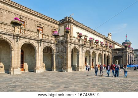 MEXICO CITY-DECEMBER 27,2016 : Visitors at the National Museum of History at Chapultepec Castle in Mexico City