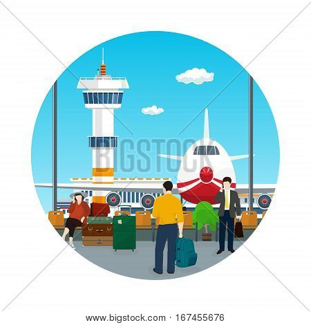Icon Airport , View on Airplane and Control Tower through the Window from a Waiting Room with People , Travel and Tourism Concept, Flat Design, Vector Illustration