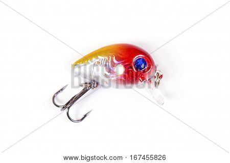 Fishing lure isolated on white. Wobbler in three color.White red and yellow colors.