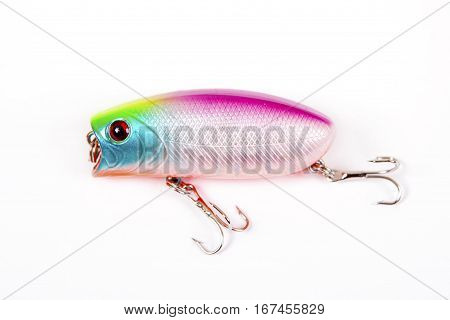 Fishing lure isolated on white. Wobbler in three color.Blue yellow and red colors.