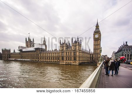 London England - 21 March 2016: Big Ben and the Westminister bridge in central London.