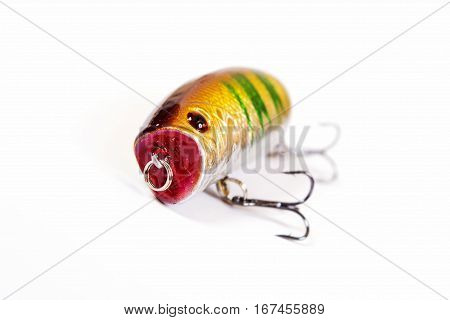 Fishing lure isolated on white. Wobbler in three color. Green yellow and red colors.