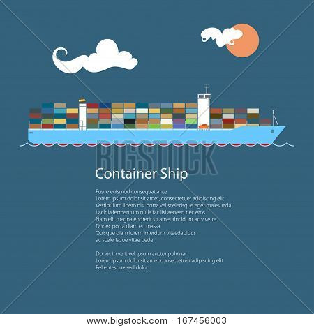 Cargo Container Ship at Sea and Text , Industrial Marine Vessel with Containers on Board, International Freight Transportation, Vector Illustration