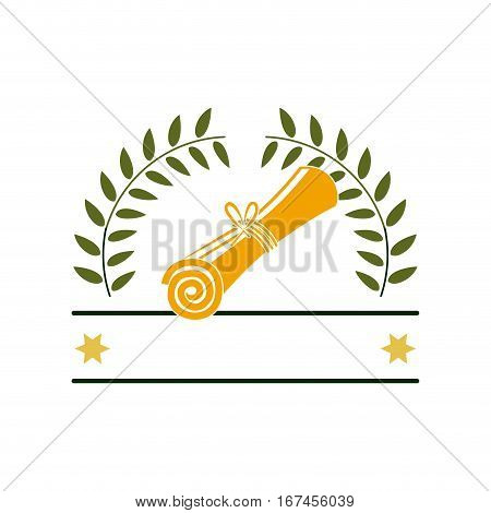 silhouette with branches with leaves in shape of crown and certificate of graduation vector illustration