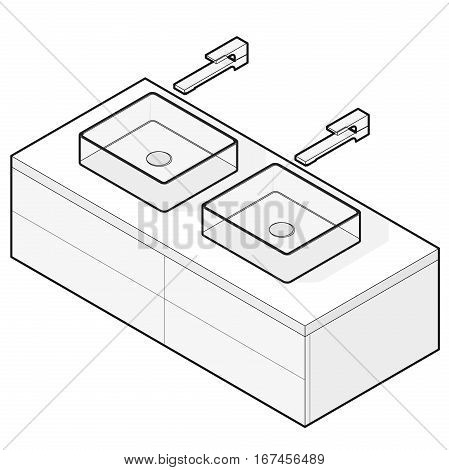 Bathroom sinks. Outlined isometric basin with tap and water. Kitchen interior info graphic element on white. Illustration household article. Pictogram domestic cleaner set. Isolated master vector.