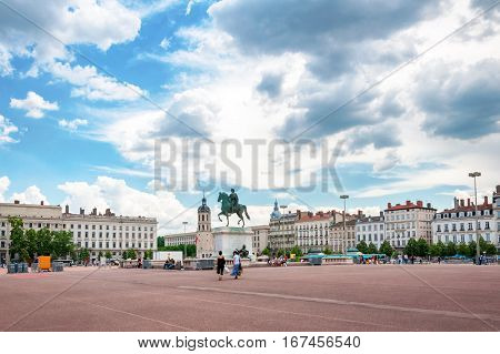The Bellecour square. Statue of Louis XIV in Lyon, France