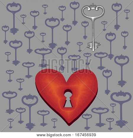 Vector illustration Key to heart symbolizing love the uniqueness of the relationship and mutual understanding.