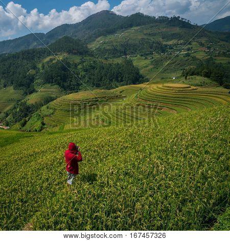 Traveller taking photo in Sapa Vietnam .