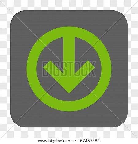 Direction Down interface toolbar button. Vector icon style is a flat symbol in a rounded square button light green and gray colors chess transparent background.
