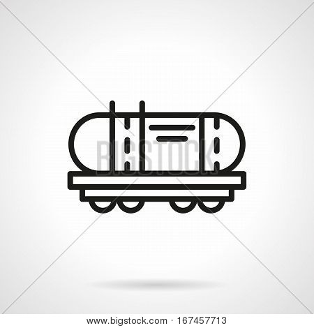Railroad transport symbol. Railway cistern or tank for transportation of oil, petroleum, gasoline and other liquids. Black simple line design vector icon.