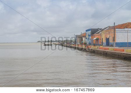 Fisherman houses and boats in Sao Jose do Norte