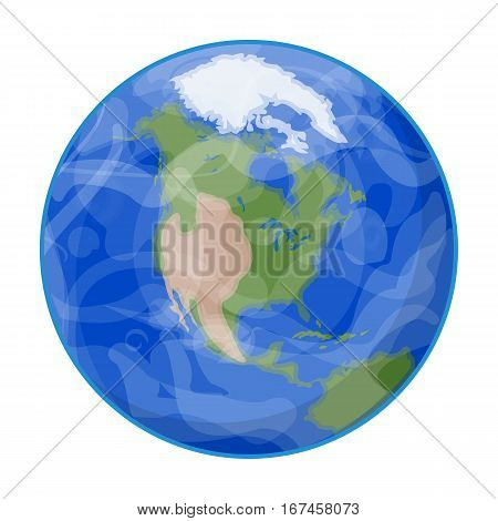 Earth icon in cartoon design isolated on white background. Planets symbol stock vector illustration.