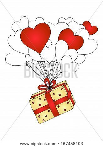 Valentine's day illustration. Vector image. Heart gift