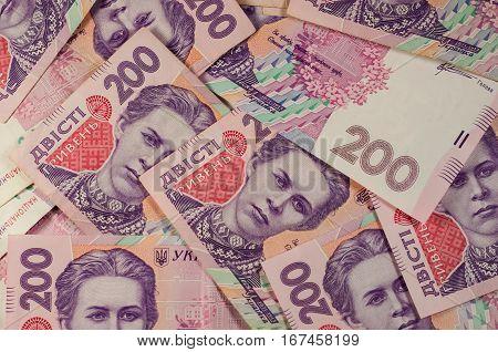 Background of the ukrainian 200 hryvnas banknotes