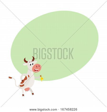 Funny black white spotted cow standing on hind legs and ringing a bell, cartoon vector illustration on background with place for text. Funny cow ringing a bell sanding on two legs, dairy farm concept