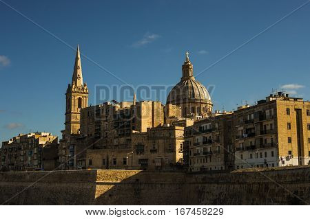 Basilica of Our Lady of Mount Carmel a roman church in Valletta Malta