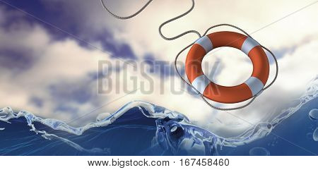 High angle view of digital life belt with rope against blue sky with clouds 3d