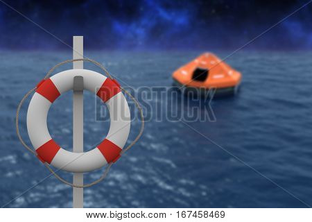 Graphic image of life belt with rope hanging on pole against digital inflatable tent on sea 3d