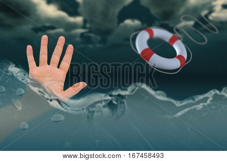 Open hand waving against composite image of life belt with rope 3d