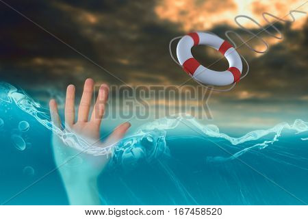 Hand with fingers spread out against digital image of a cloudy sky 3d