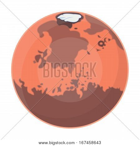 Mars icon in cartoon design isolated on white background. Planets symbol stock vector illustration.