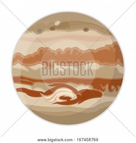 Jupiter icon in cartoon design isolated on white background. Planets symbol stock vector illustration.