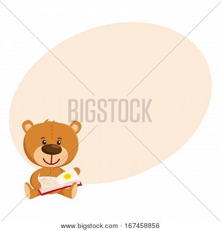 Cute traditional, retro style teddy bear character sitting and reading a book, cartoon vector illustration on background with place for text. Teddy bear character reading book