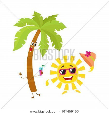 Funny palm tree and sun in sunglasses characters, travelling, summer vacation symbol, cartoon vector illustration isolated on white background. Palm tree and sun characters, mascots, holiday concept