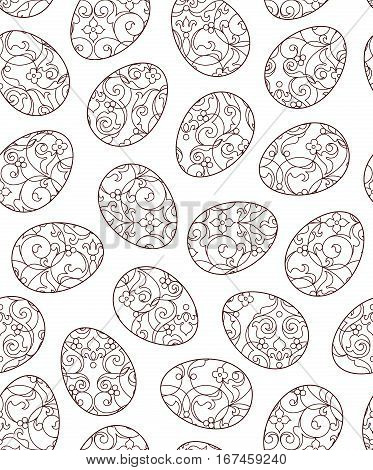 Seamless Pattern With Line Art Easter Eggs.