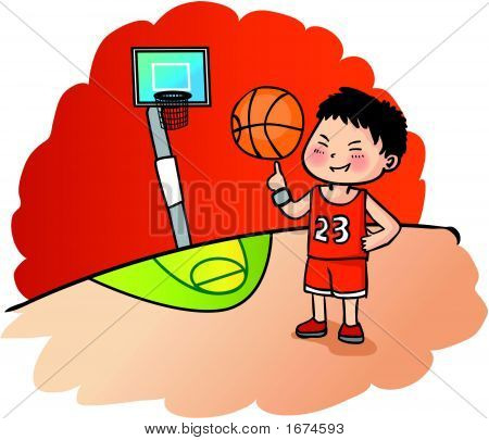Young Boy Holding A Basketball