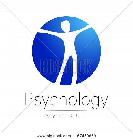 Modern man Logo Sign of Psychology. Human in a circle. Creative style. Icon in vector. Design concept. Brand company. Blue color isolated on white background. Symbol for web, print, card, logotype