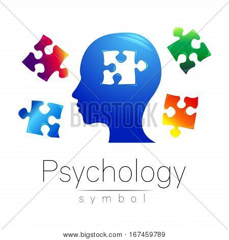 Modern head Logo sign of Psychology. Puzzle. Profile Human. Creative style. Symbol in vector. Design concept. Brand company. Blue color isolated on white background. Icon for web, print, logotype.