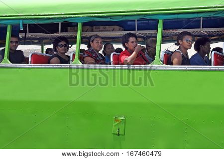 Indigenous Fijian People Travel By Bus In Fiji
