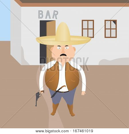 little armed gangster on dark background old bar