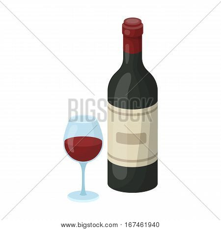 Spanish wine bottle with glass icon in cartoon design isolated on white background. Spain country symbol stock vector illustration.