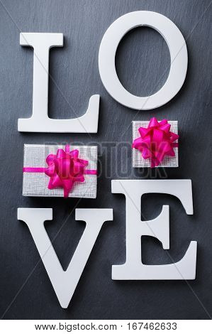 Valentines Day Holiday Letters Text Message Love Gift Box Background