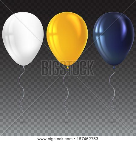 Inflatable air flying balloons isolated on transparent background. Close-up look at black, white and yellow balloons with reflects. Realistic 3D vector illustration