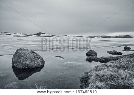 Rocks In A Lake, An Overcast Day At The Lake, Winter Landscape, Norway