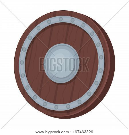 Viking shield icon in cartoon design isolated on white background. Vikings symbol stock vector illustration.